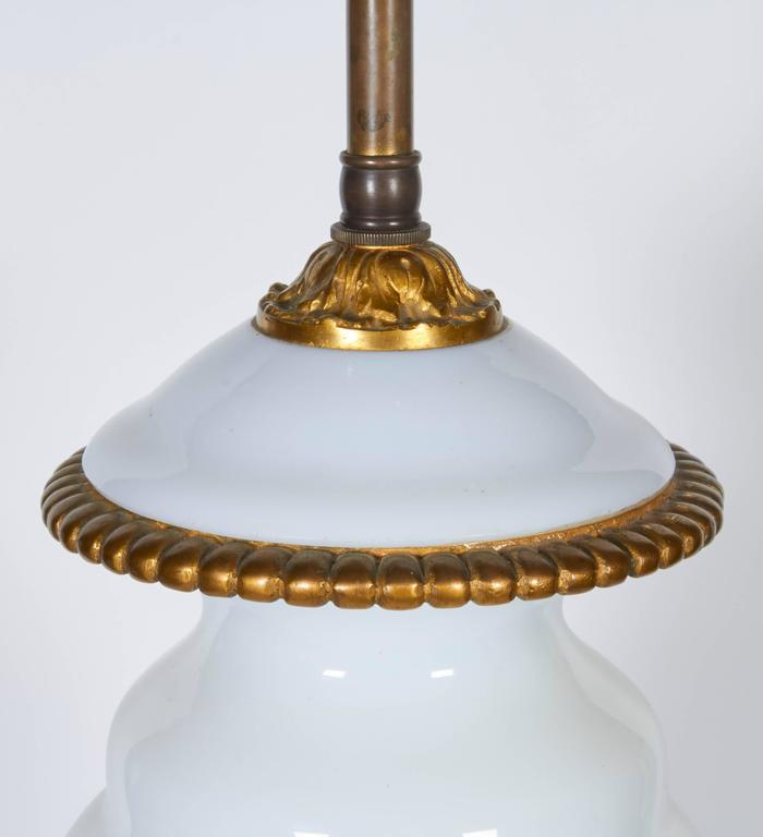 Early 20th Century Pair of Gilt Bronze Mounted Opaline Glass Lamps For Sale