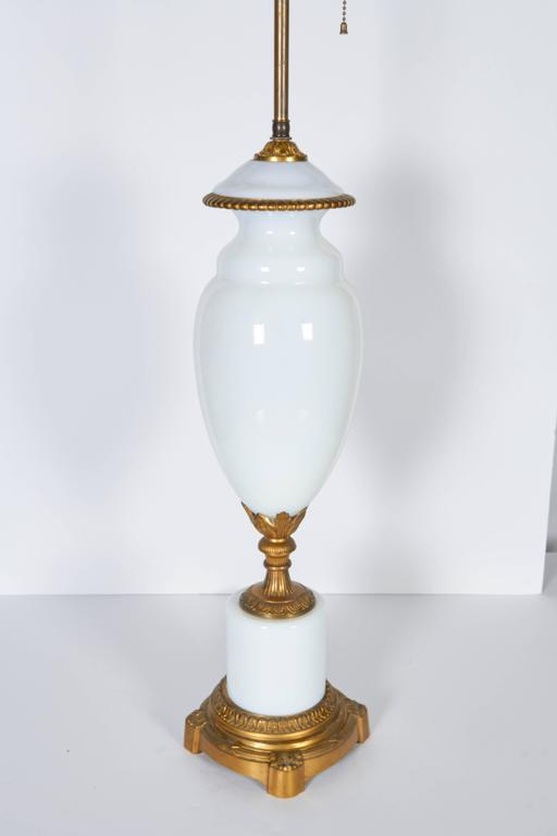 Pair of Gilt Bronze Mounted Opaline Glass Lamps For Sale 1