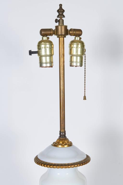 Pair of Gilt Bronze Mounted Opaline Glass Lamps For Sale 2