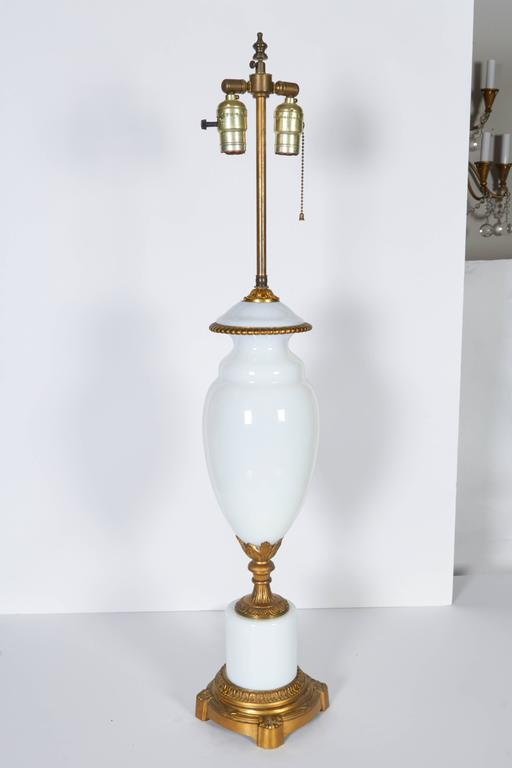 Pair of Gilt Bronze Mounted Opaline Glass Lamps For Sale 3
