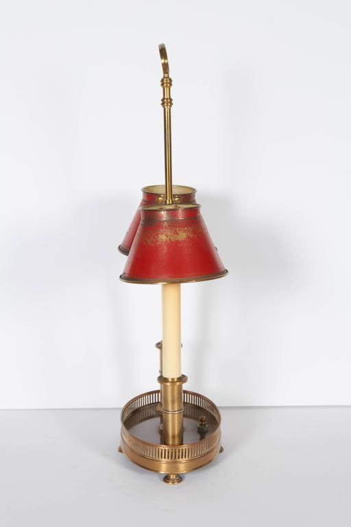 Brass French Two-Light Bronze and Tole Bouilotte Lamp For Sale