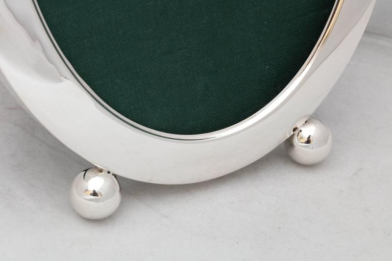 American Edwardian Sterling Silver Oval Picture Frame on Ball Feet For Sale