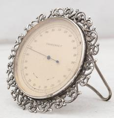 Victorian Sterling Silver Table Thermometer