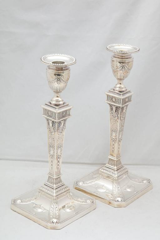 Tall Pair Of Edwardian Sterling Silver Adam Style