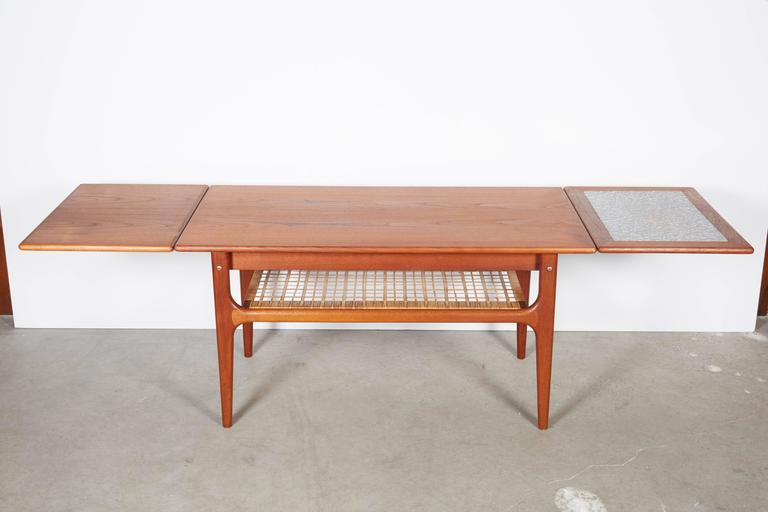 Mid century modern teak coffee table with two leaves at for Mid century modern furniture new york