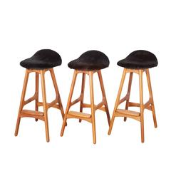 Erik Buch Counter Height Stool, Set of Three in Cow Fur