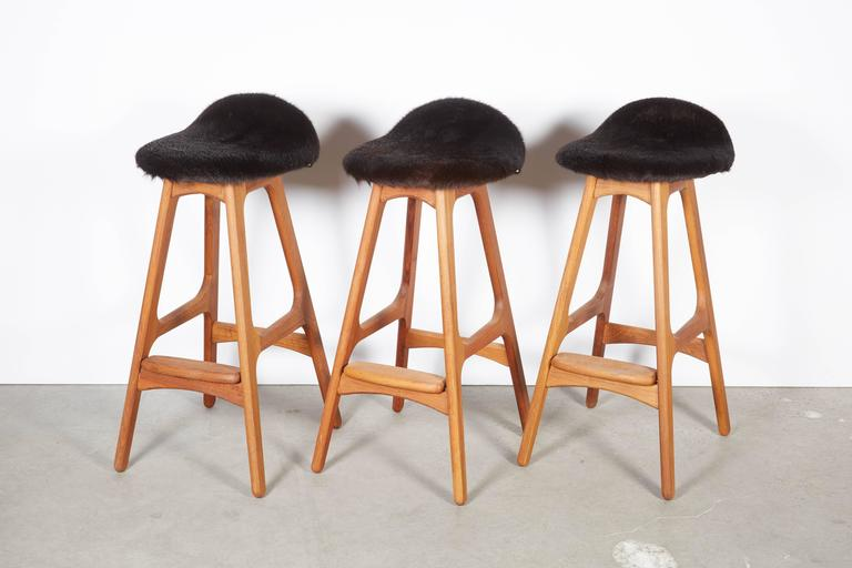 Erik Buch Counter Height Stool Set Of Three In Cow Fur