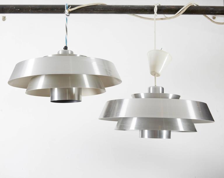 Danish Aluminum Pendent Lamp by Jo Hammerborg, Pair 2