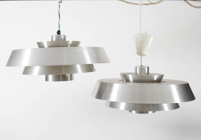 Danish Aluminum Pendent Lamp by Jo Hammerborg, Pair 3