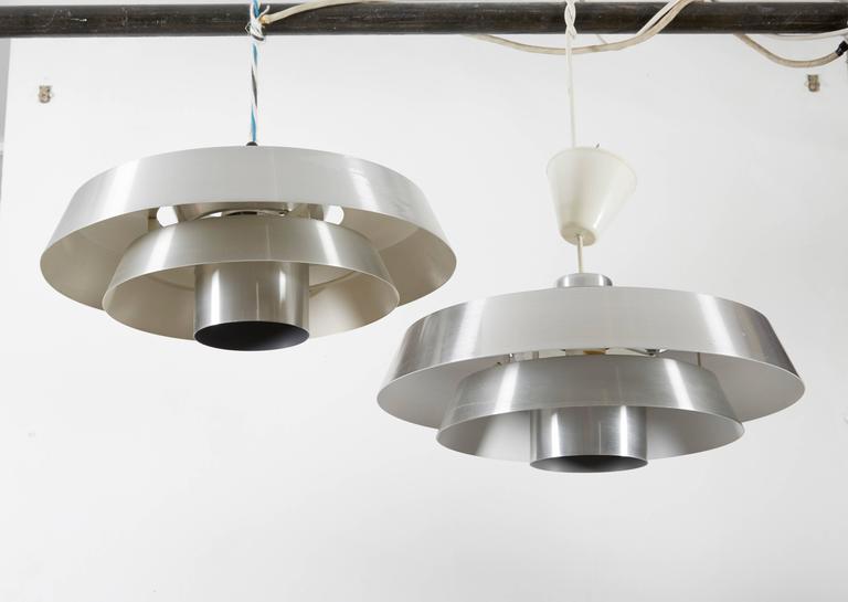Danish Aluminum Pendent Lamp by Jo Hammerborg, Pair 4