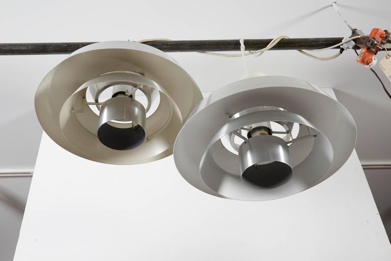Danish Aluminum Pendent Lamp by Jo Hammerborg, Pair 5