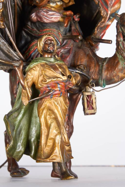 Rococo Antique Austrian Cold Painted Orientalist Bronze Lamp by Bergman, 19th Century For Sale