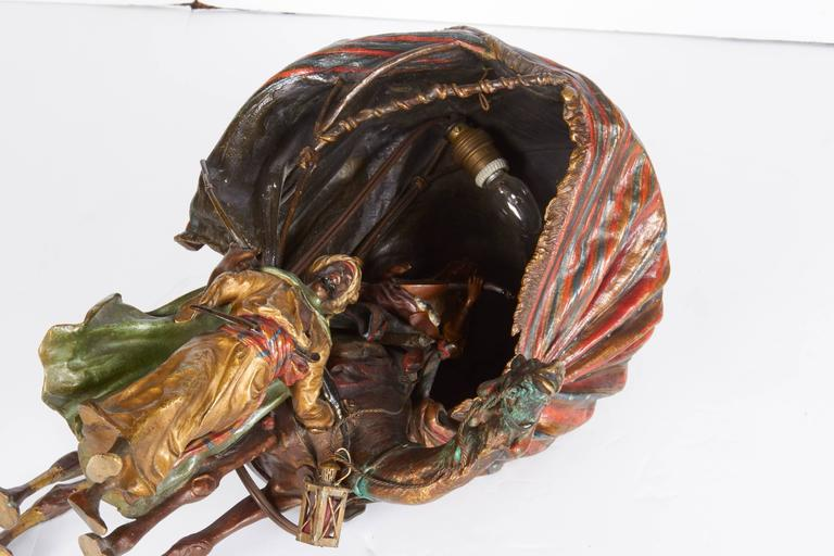 Antique Austrian Cold Painted Orientalist Bronze Lamp by Bergman, 19th Century For Sale 4