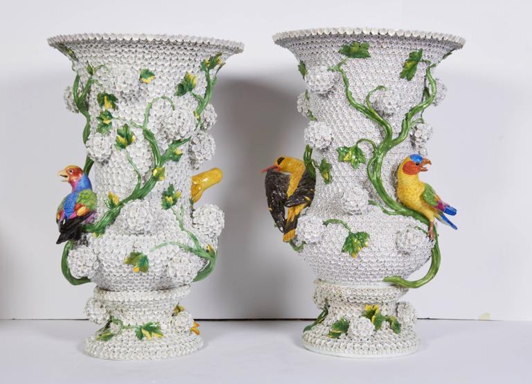 German Monumental Pair of Meissen Porcelain Snowball Vases with Parrots and Birds For Sale