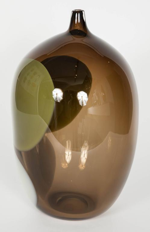 Swedish Trillium, a Unique Tobacco Brown, Green & Alabaster Glass Vase by Gunnel Sahlin For Sale
