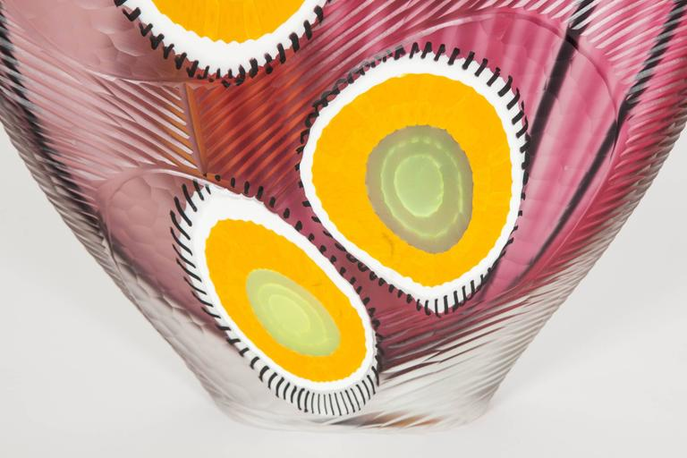 Hand-Crafted Evviva II, a mixed coloured sculptural glass vase by Marco & Mattia Salvadore For Sale