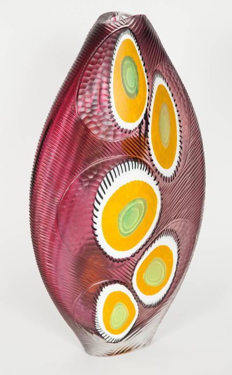 Contemporary Evviva II, a mixed coloured sculptural glass vase by Marco & Mattia Salvadore For Sale