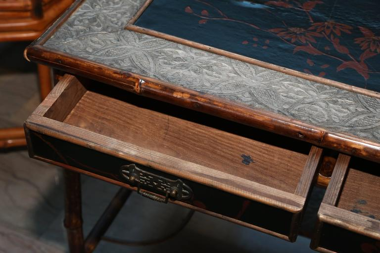 Superb 19th Century English Bamboo Writing Table In Good Condition For Sale In West Palm Beach, FL