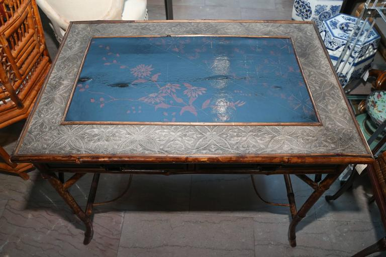 Superb 19th Century English Bamboo Writing Table For Sale 1