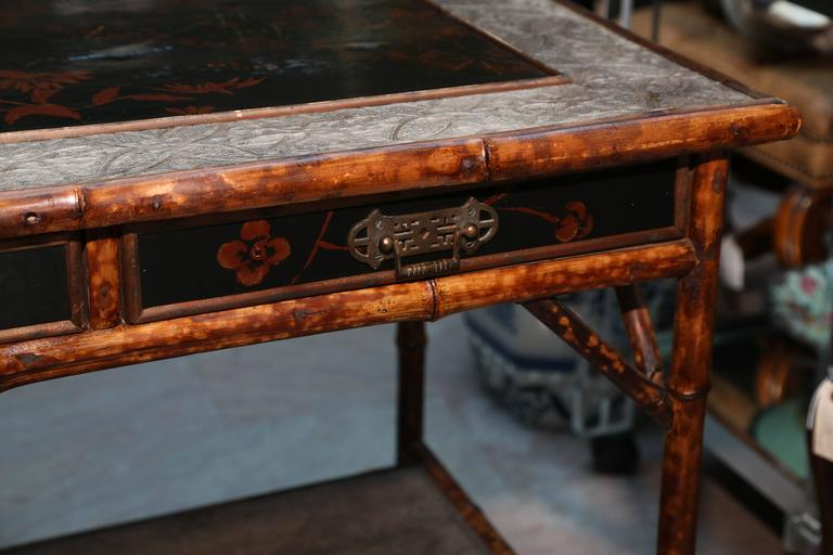 Superb 19th Century English Bamboo Writing Table For Sale 3