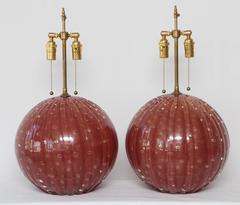 Pair of Deep Red Circular Murano Glass Lamps