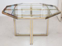 Octagonal Mixed Metal  Dining Table by Romeo Rega.