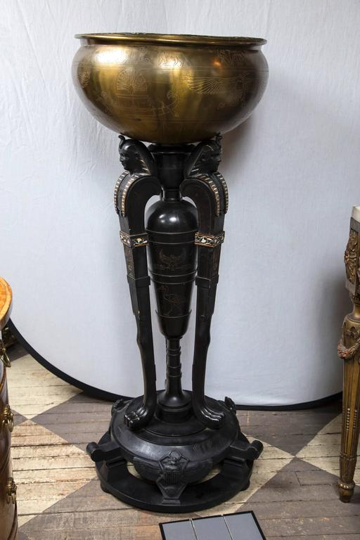 Egyptian Revival Pedestal And Planter For Sale At 1stdibs