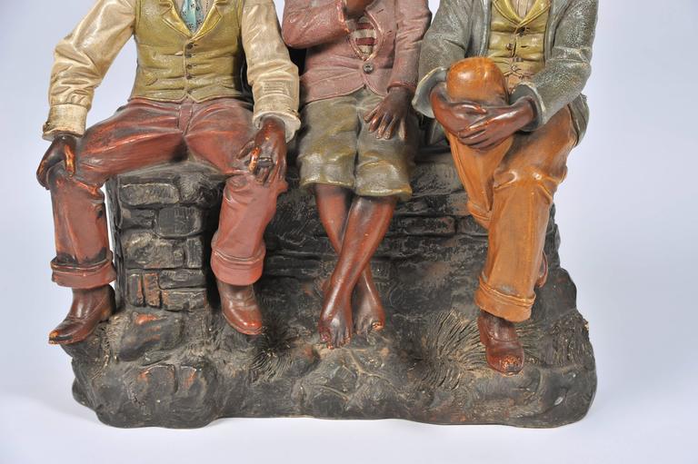 Austrian Goldscheider Style Terracotta Group For Sale