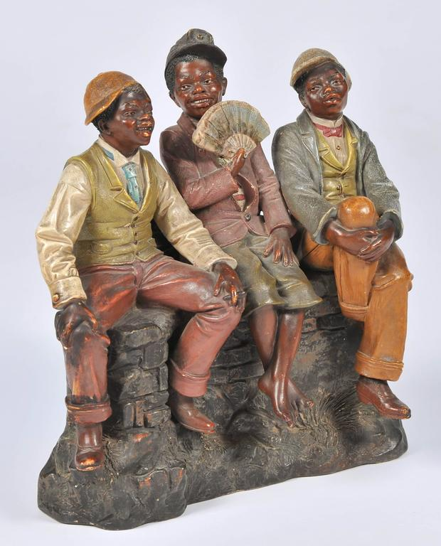 Cast Goldscheider Style Terracotta Group For Sale