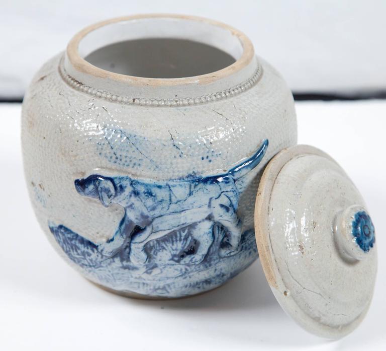 Glazed 19th Century Blue Glaze Stoneware Covered Jar For Sale