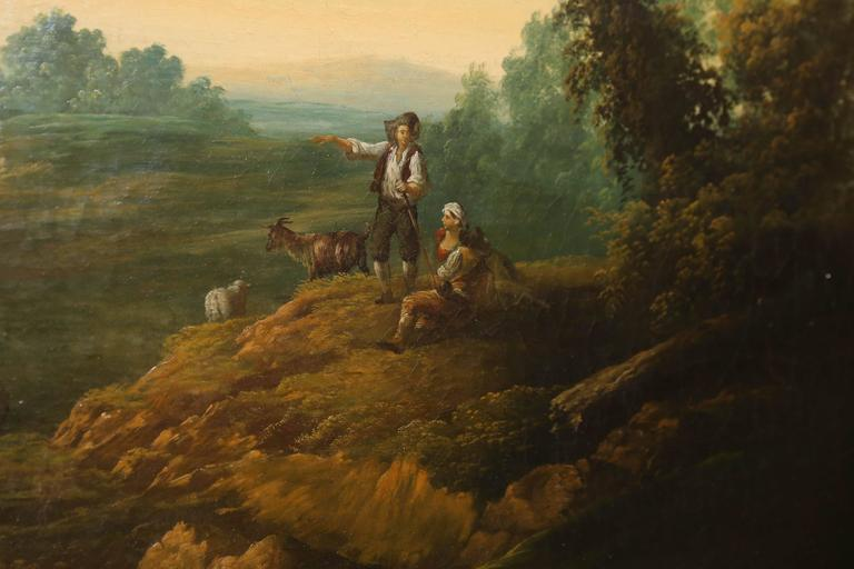 19th Century French Oil on Canvas, Pastoral Landscape Depicting Shepherds