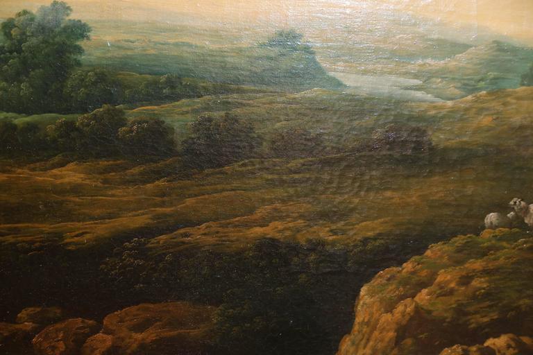 French Oil on Canvas, Pastoral Landscape Depicting Shepherds 1