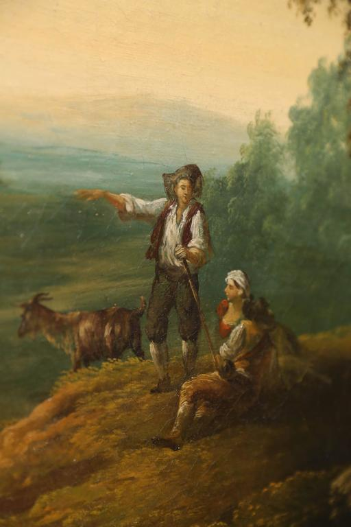 French Oil on Canvas, Pastoral Landscape Depicting Shepherds 3