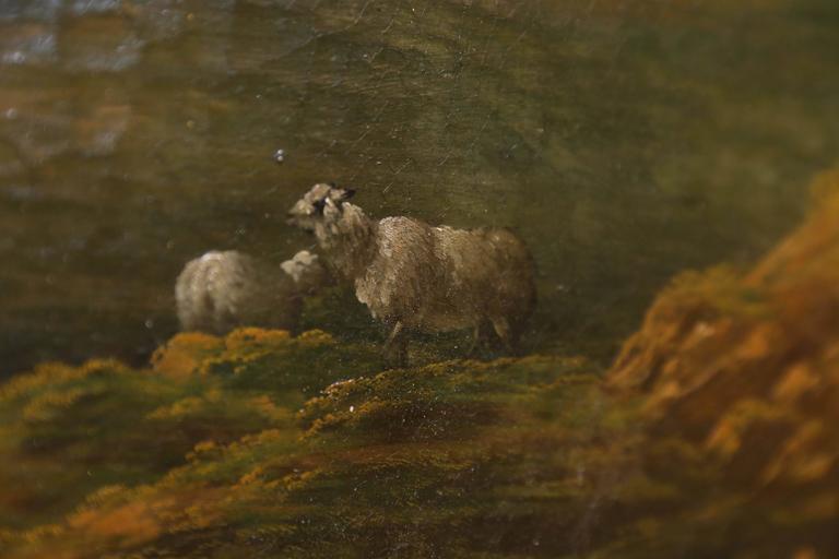 French Oil on Canvas, Pastoral Landscape Depicting Shepherds 4