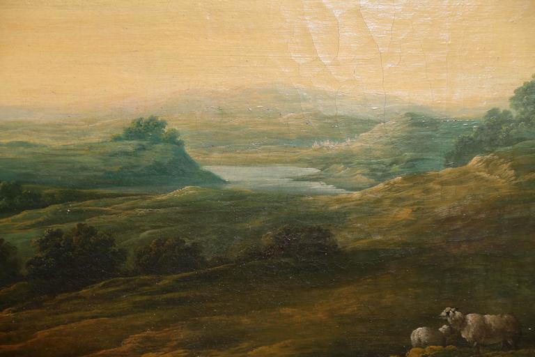 French Oil on Canvas, Pastoral Landscape Depicting Shepherds 5