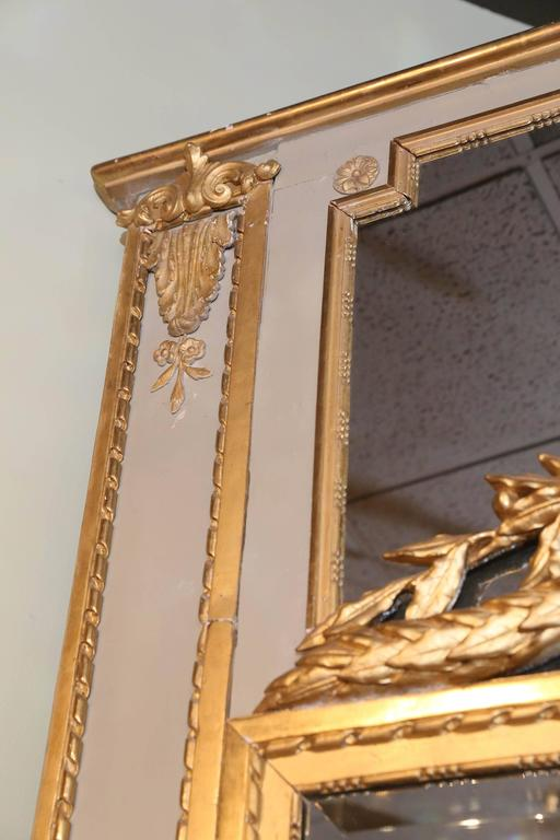 Large French Floor Pier Mirror With Parcel Paint And Gilt