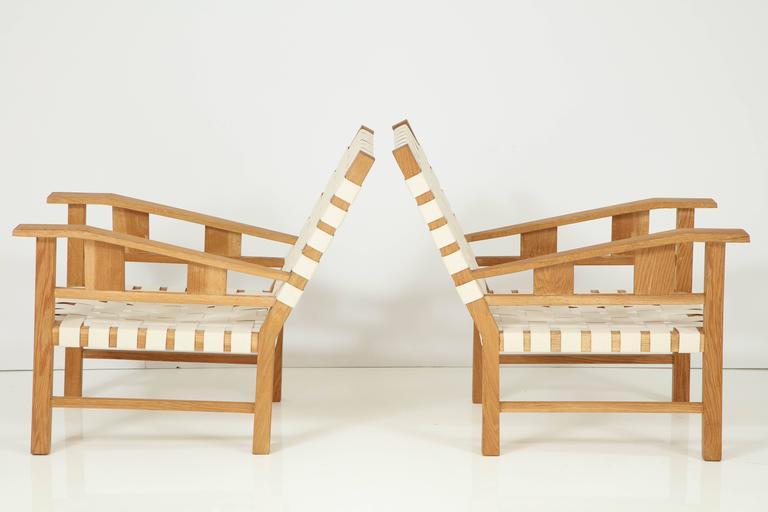 Art Deco Francis Jourdain Webbed Oak Chairs For Sale
