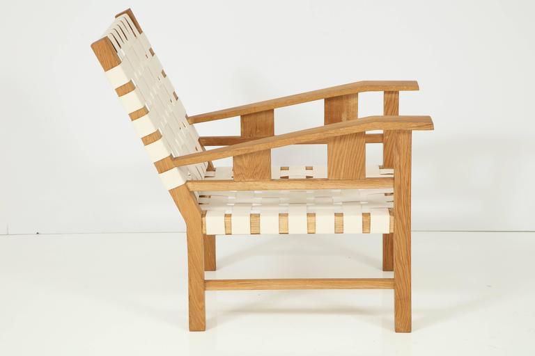 French Francis Jourdain Webbed Oak Chairs For Sale