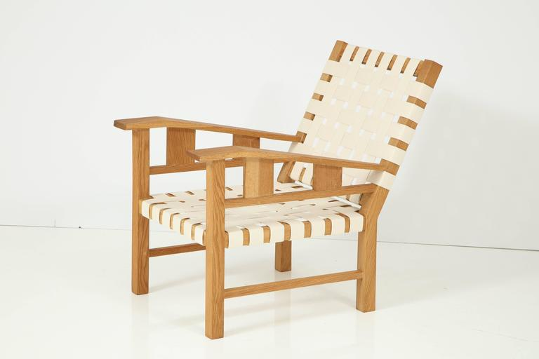 Francis Jourdain Webbed Oak Chairs In Excellent Condition For Sale In New York, NY
