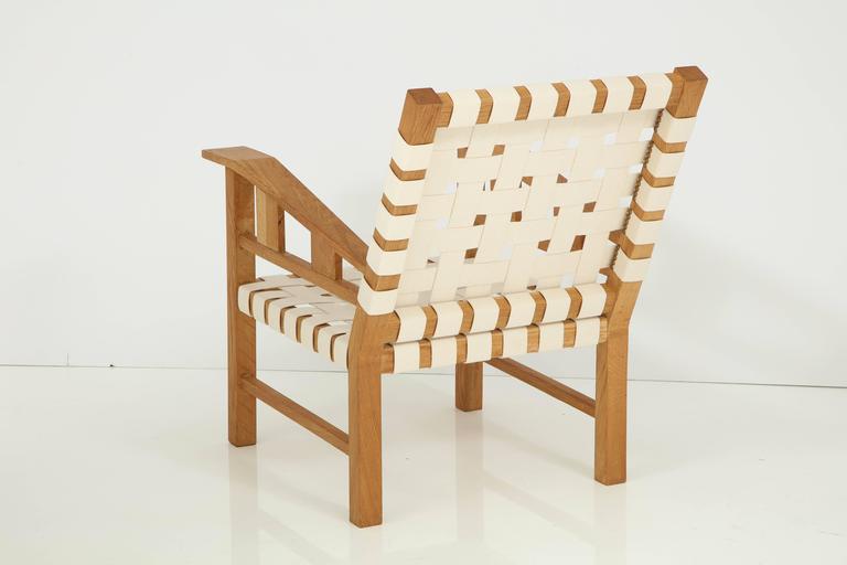 Mid-20th Century Francis Jourdain Webbed Oak Chairs For Sale