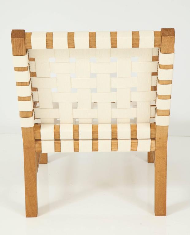 Francis Jourdain Webbed Oak Chairs For Sale 2