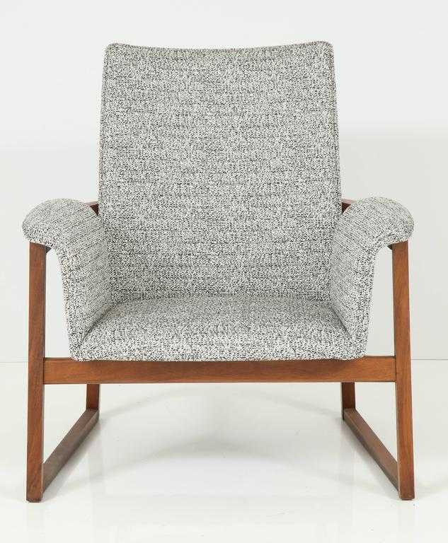 Single walnut and cotton upholstery armchair by Milo Baughman for Thayer Coggins.