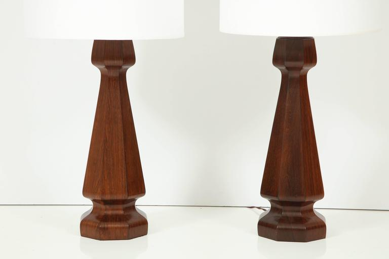 Large and heavy solid rosewood lamps. Refinished and rewired.