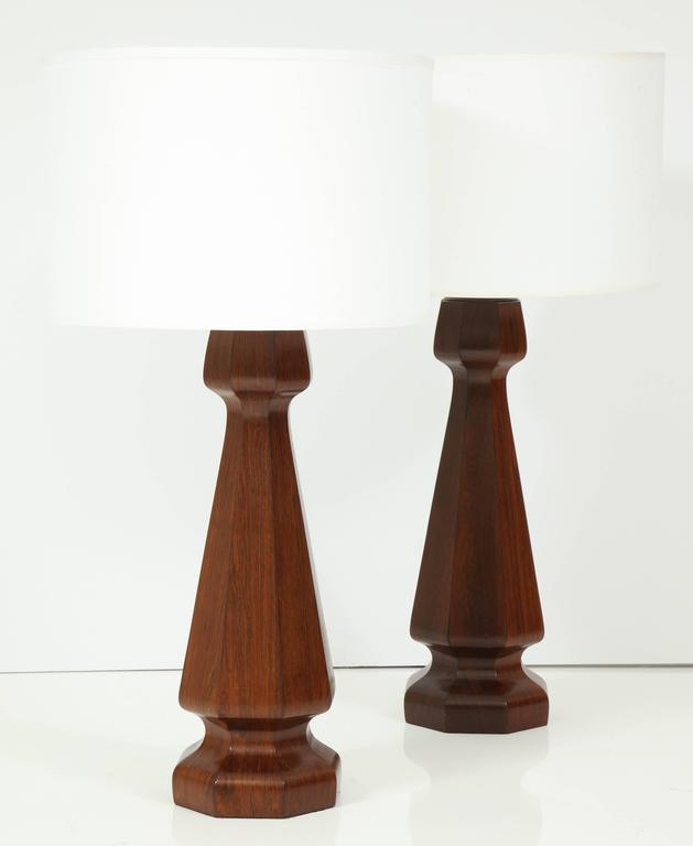 Art Deco Large rosewood column lamps For Sale