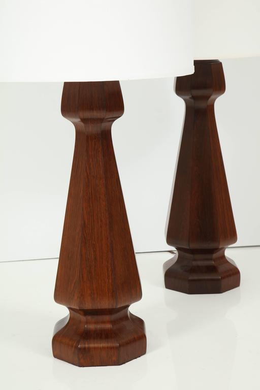 American Large rosewood column lamps For Sale