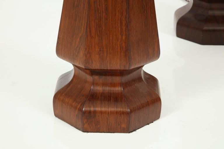 Carved Large rosewood column lamps For Sale
