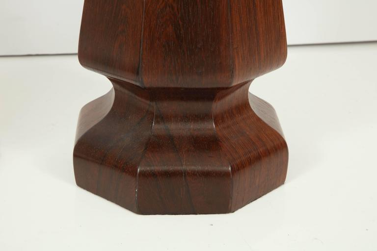 Rosewood Large rosewood column lamps For Sale