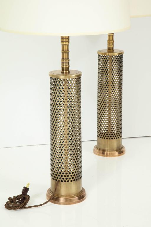 Pair of Studio Bronze Lamps For Sale 1