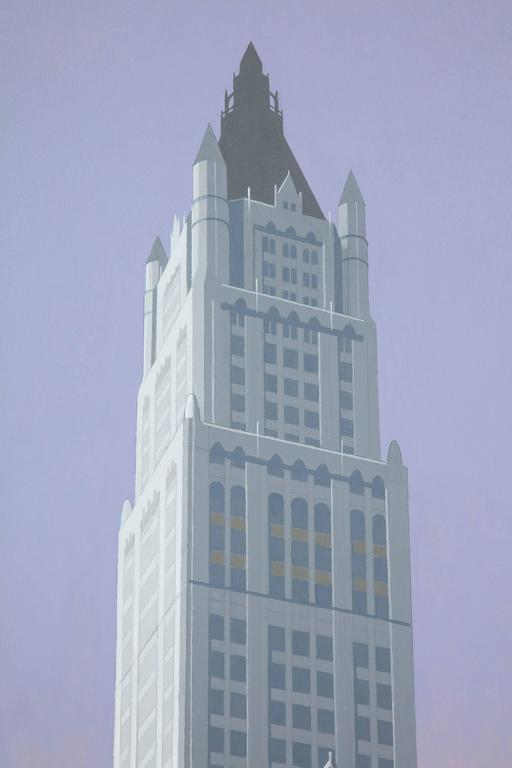 Woolworth. An original painting by Lynn Curlee  This,painting was used as an illustration in skyscraper, an award winning book for children by author/illustrator Lynn Curlee  It is acrylic on canvas. The edges are fully finished and painted so