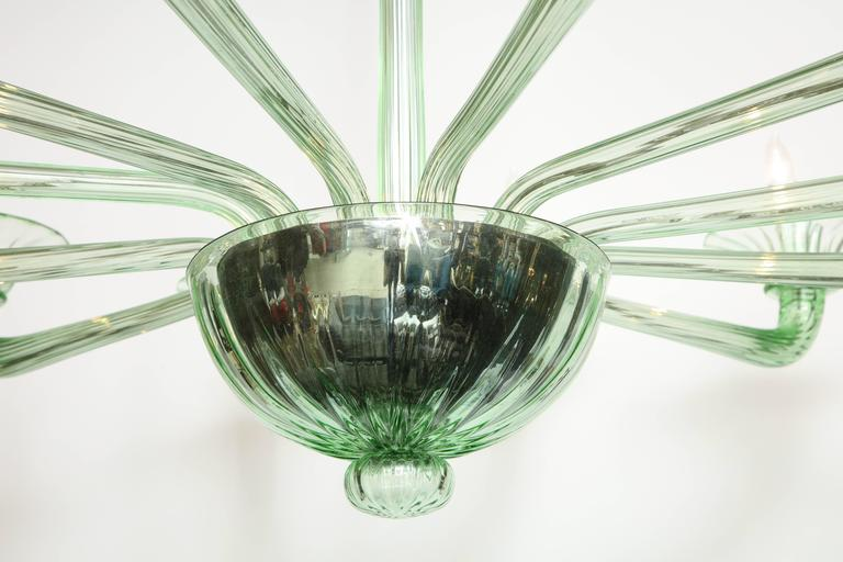 Rare Mid-Century Green Murano Glass Chandelier in the Manner of Venini 3